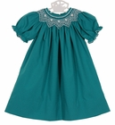 NEW Le' Za Me Teal Bishop Smocked Dress with White Embroidery
