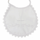 NEW Lito White Cotton Bib with Cross Embroidery and Crocheted Lace Trim