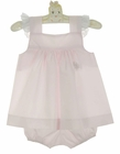 """<img src=""""https://p11.secure.hostingprod.com/@grammies-attic.com/ssl/images/blue-sold-1.gif""""> NEW Lullaby Set Pale Pink Pinafore Set with Swiss Lace Trim"""