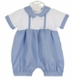 NEW Marco and Lizzy Periwinkle Blue Linen and White Knit Romper