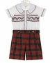 NEW Marco & Lizzy Royal Style Red Plaid Shorts with Smocked Shirt