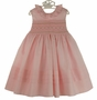 NEW Marco & Lizzy Pink Cotton Sleeveless Smocked Dress with Embroidered Rosebuds