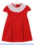 New Marco & Lizzy Red Velvet Dress with Portrait Collar