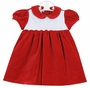 New Marco & Lizzy Red Velvet Dress with White Scalloped and Embroidered Bodice