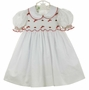NEW Little Threads White Batiste Smocked Dress with Candy Cane and Red Rosebud Embroidery