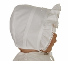 NEW Monelli White Cotton Batiste Bonnet with Pintucks and Embroidery