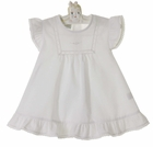 NEW Monelli White Cotton Dress with Rosebud Embroidery and Lace Insertion