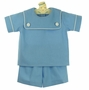 NEW Mulberry Street Blue Linen Shorts Set with White Trimmed Collar