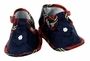 NEW Navy Silk Baby Girls Shoes with Red Plaid Trim and Seed Pearls