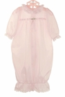 NEW Pale Pink Nylon Gown with White Lace Trim for Newborns