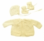 """<img src=""""https://p11.secure.hostingprod.com/@grammies-attic.com/ssl/images/blue-sold-1.gif""""> NEW Pale Yellow Hand Knit Baby Sweater, Hat, and Booties Set"""