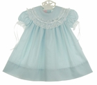 NEW Peppermint Pony Aqua Blue Heirloom Style Dress with Swiss Lace and Ribbon Trimmed Portrait Collar