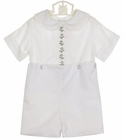 NEW Peppermint Pony Heirloom Style White Button on Shorts Set with Lace Trim and Holiday Embroidery