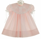 NEW Peppermint Pony Pale Pink Heirloom Style Dress with Lace Trimmed Portrait Collar