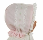 "<img src=""https://p11.secure.hostingprod.com/@grammies-attic.com/ssl/images/blue-sold-1.gif""> NEW Peppermint Pony Pink Heirloom Style Bonnet with Lace and Pink Embroidery and Embroidery"