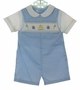 NEW Petit Ami Blue Checked Smocked Romper with Birthday Embroidery