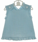 NEW Petit Ami Blue Striped Seersucker Sunsuit with Crossover Back and Matching Ruffled Diaper Cover