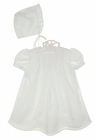 NEW Petit Ami Heirloom Style White Pintucked Dress with Lace Insertion and Matching Bonnet