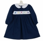 NEW Petit Ami Navy Blue Smocked Twill Dress with Birthday Embroidery