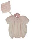 NEW Petit Ami Pale Pink Bishop Smocked Bubble with Matching Bonnet