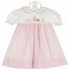 NEW Petit Ami Pink and White Pincord Dress with Bunny Embroidery