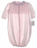 NEW Petit Ami Pink Baby Gown with Pintucks and Embroidery and Matching Embroidered Hat