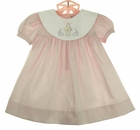 NEW Petit Ami Pink Dress with Bunny Embroidered White Portrait Collar and Matching Diaper Cover