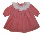 """<img src=""""https://p11.secure.hostingprod.com/@grammies-attic.com/ssl/images/blue-sold-1.gif""""> NEW Petit Ami Red Checked Bishop Smocked Baby Dress with White Ruffled Collar"""
