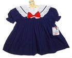 NEW Petit Ami Vintage Style Navy Blue Sailor Dress with Red Bow for Baby Girls
