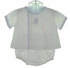 NEW Petit Ami White Diaper Set with Lamb Embroidery and Blue Trim