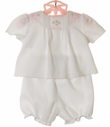NEW Petit Ami White Diaper Set with Pintucks and Pink Embroidery