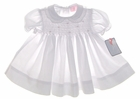 NEW Petit Ami White Smocked Baby Dress with Lace Trimmed Collar and Matching Bonnet
