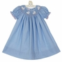 NEW Petit Bebe by Anavini Blue Checked Bishop Smocked Dress with Bunnies