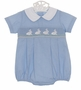 NEW Petit Bebe by Anavini Blue Checked Smocked Romper with Bunny Embroidery