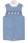 NEW Petit Bebe by Anavini Blue Checked Smocked Shortall with Bunny Embroidery