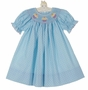 NEW Petit Bebe by Anavini Blue Dotted Cotton Bishop Smocked Dress with Cupcake Embroidery