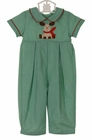 NEW Petit Bebe by Anavini Green Checked Long Romper with Reindeer Applique