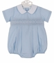 NEW Petit Bebe by Anavini Light Blue Smocked Romper
