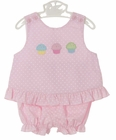 NEW Petit Bebe by Anavini Pink Dotted Pantaloon Set with Appliqued Cupcakes
