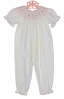 NEW Petit Bebe by Anavini White Cotton Corduroy Bishop Smocked Romper with Pink Embroidered Rosebuds