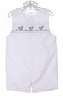 NEW Petit Bebe by Anavini White Smocked Shortall with Lamb Embroidery