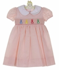 NEW Petit Bebe by Anavini Pink Pinstriped Cotton Smocked Dress with Pastel Bunnies