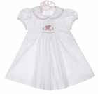 NEW Petit Bebe by Anavini White Smocked Dress with Embroidered Lamb