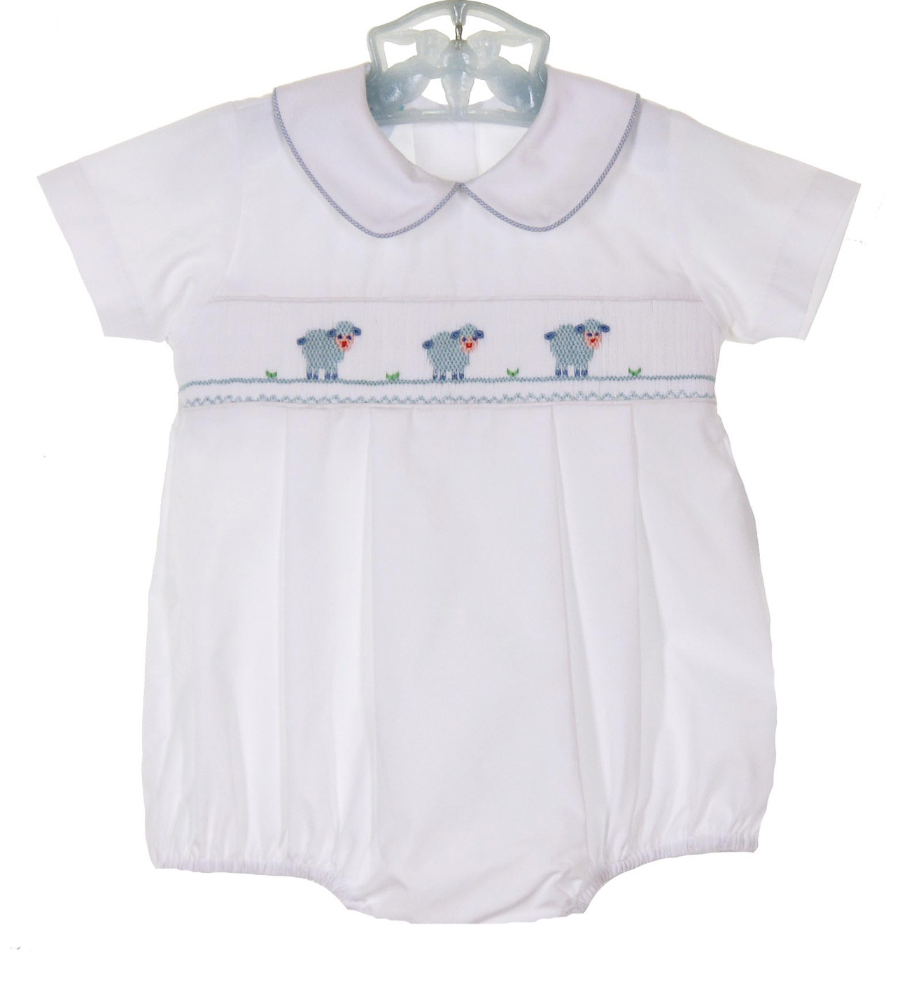 43773e753 Petit Bebe by Anavini white smocked romper with lamb