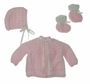 """<img src=""""https://p11.secure.hostingprod.com/@grammies-attic.com/ssl/images/blue-sold-1.gif""""> NEW Pink Hand Knit Baby Sweater, Hat, and Booties Set"""