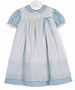 NEW Polly Flinders White Embroidered Pinafore with Blue Dress