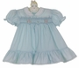 NEW Polly Flinders Blue Smocked Dress with Ruffled Hem