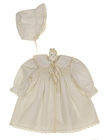 "<img src=""https://p11.secure.hostingprod.com/@grammies-attic.com/ssl/images/blue-sold-1.gif""> NEW Polly Flinders Ivory Smocked Dress, Slip, Coat and Bonnet Set with Lace Trim"