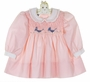 "<img src=""https://p11.secure.hostingprod.com/@grammies-attic.com/ssl/images/blue-sold-1.gif""> NEW Polly Flinders Pink Smocked Dress with Baby Carriage Embroidery"