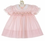 "<img src=""https://p11.secure.hostingprod.com/@grammies-attic.com/ssl/images/blue-sold-1.gif""> NEW Polly Flinders Pink Smocked Dress with Embroidered Pastel Flowers"